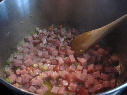 Add the ham to the mix.