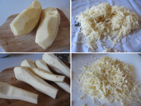Grated parsnips looks like mozarella cheese.