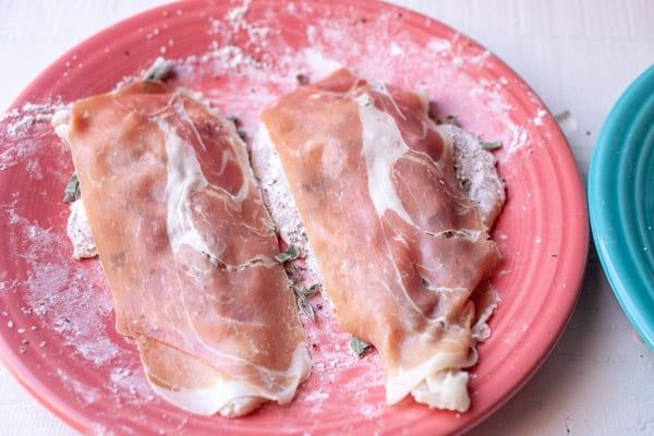 Prosciutto on chicken saltimbocca