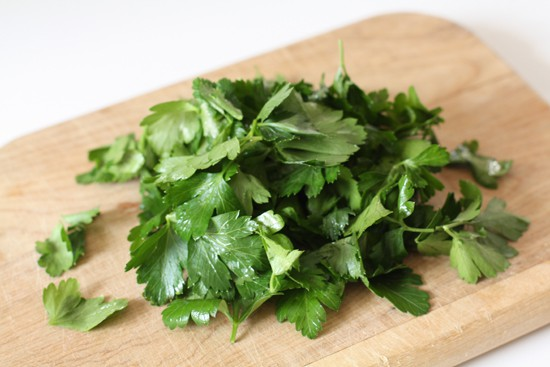 Finishing parsley.