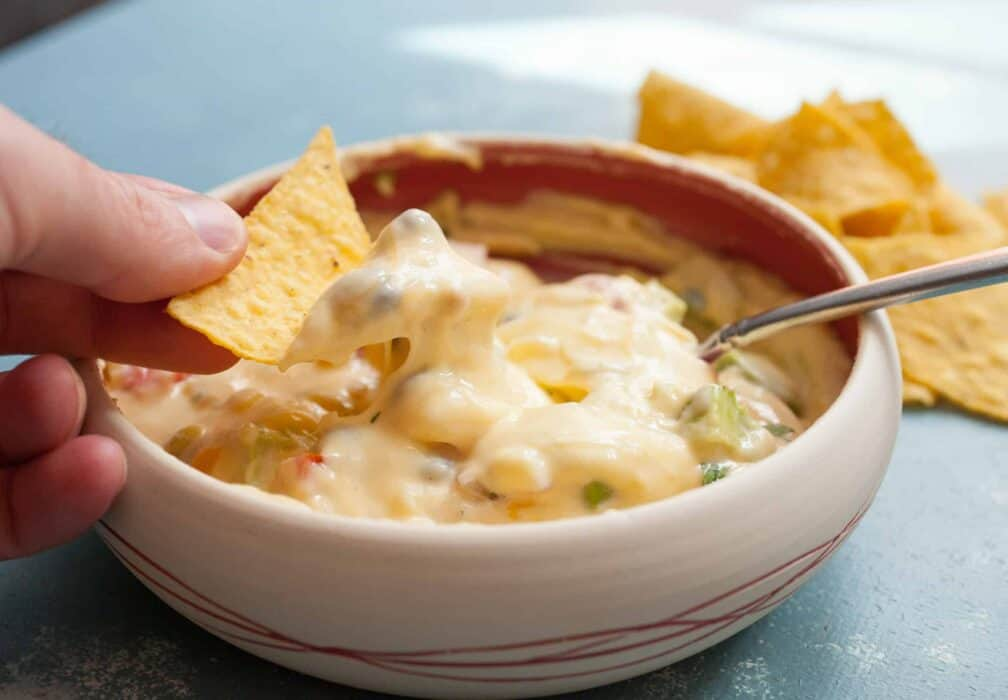 Macheesmo Mud Queso: This queso is jam-packed with add-ins and when you stir it all together you end up with