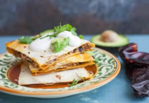 Three Chile Quesadillas: My dream quesadilla with beef, beans, and mushrooms plus a just-spicy-enough three chile spice mix! | macheesmo.com