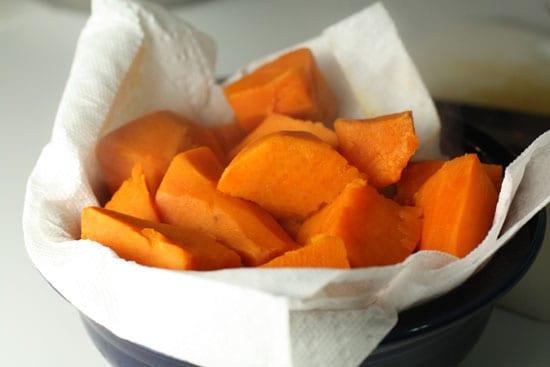 Sweet potatoes cooked.