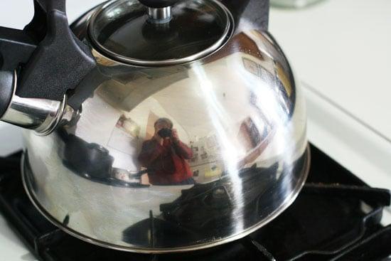 Artsy tea kettle shot.