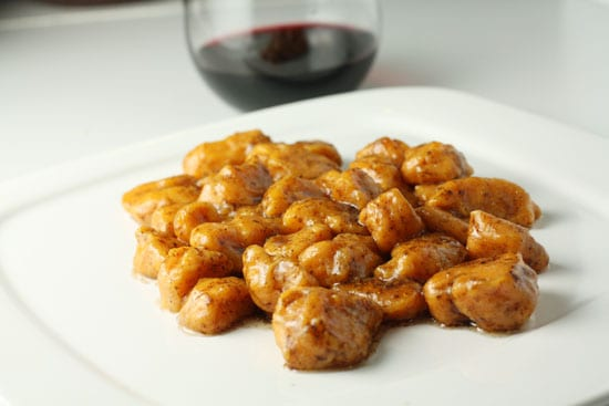 Gnocchi in brown butter.