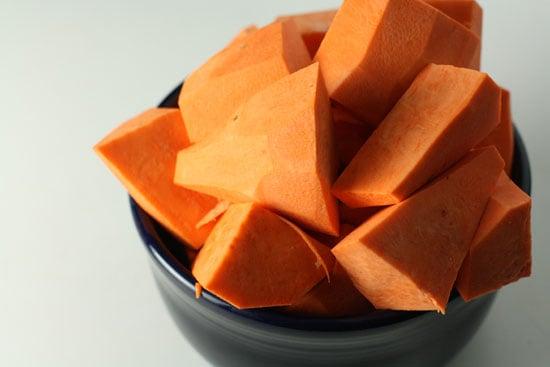 Sweet potatoes chopped.