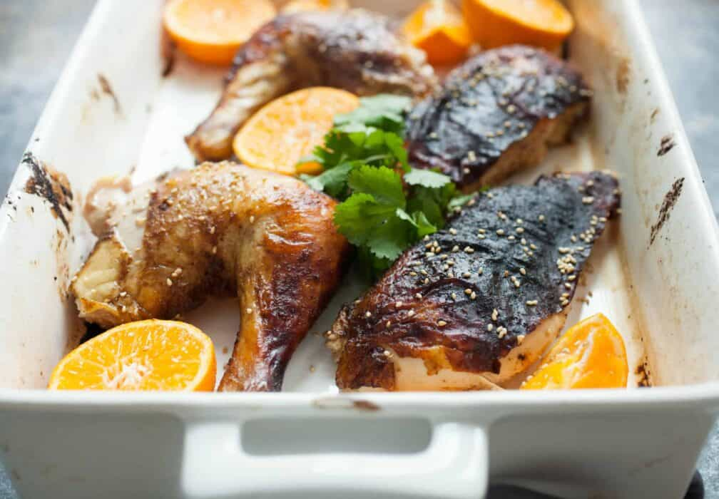 Five Spice Roast Chicken: Savory and slightly sweet roast chicken marinaded and basted with five spice powder, soy sauce, and honey. A nice change up on roast chicken! | macheesmo.com