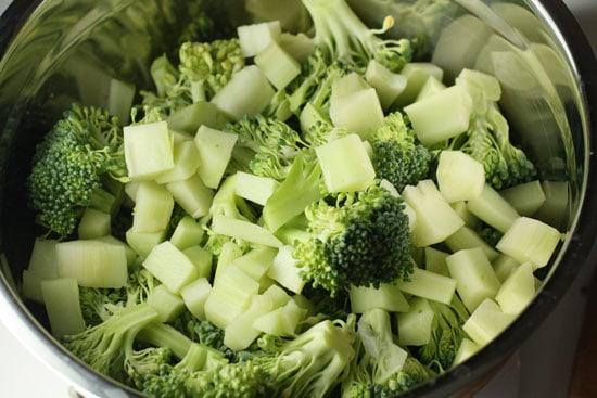 chopping broccoli