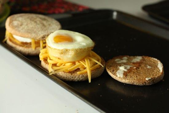 making a sandwich - Breakfast Sandwiches