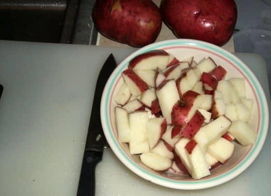 Chopped up potatoes
