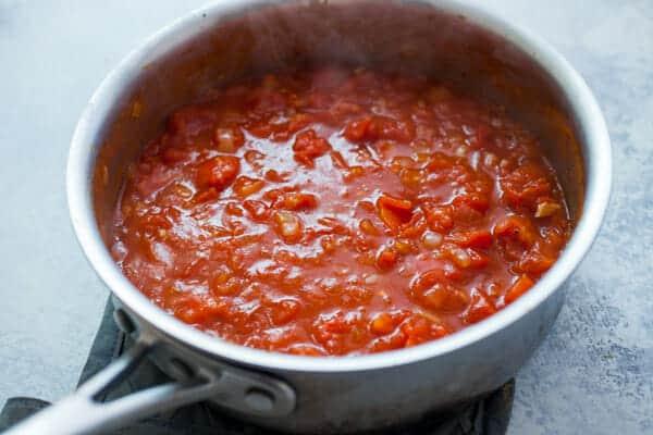 Baked Egg Casserole - tomato sauce