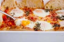 Baked Egg Casserole: A simple brunch dish baked with eggs and bread around the edges! | macheesmo.com