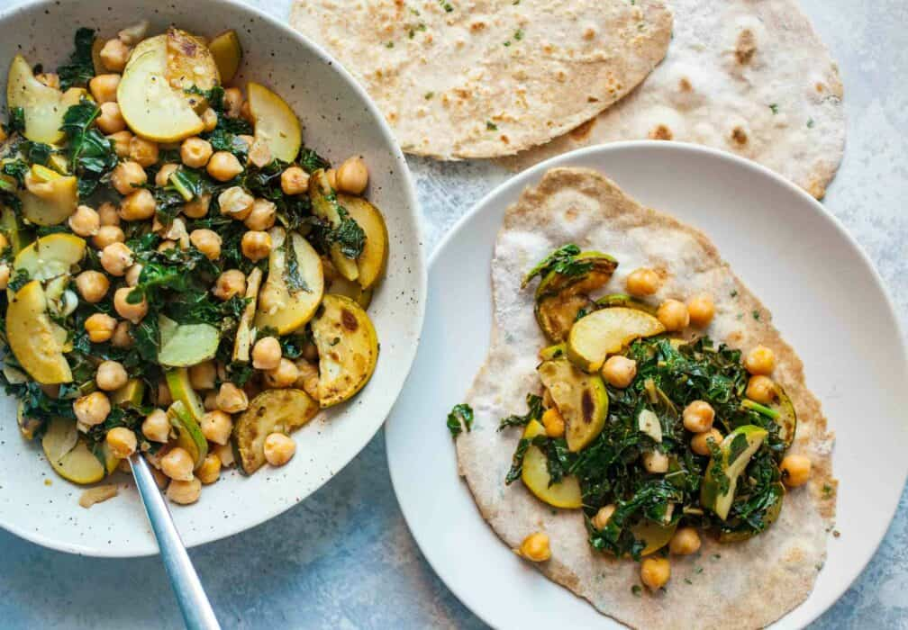 Chickpea Stir Fry with Chapati