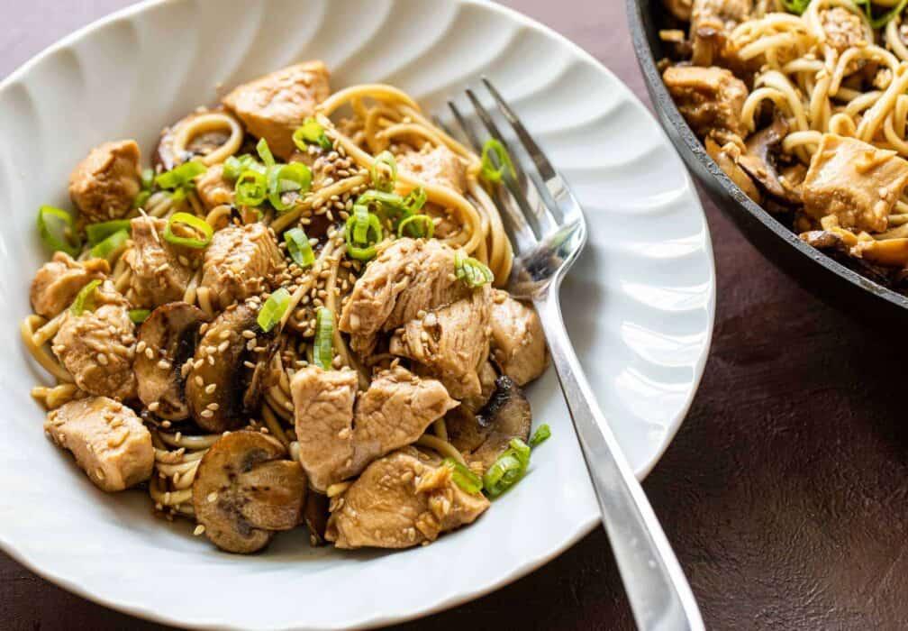 Chicken and Mushroom Lo Mein