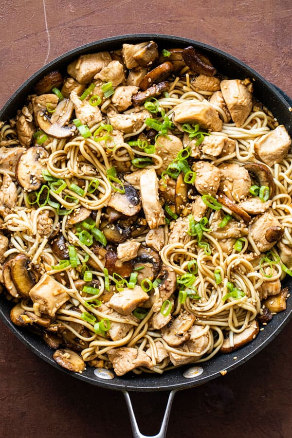 Chicken and Mushroom Lo Mein in a skillet.