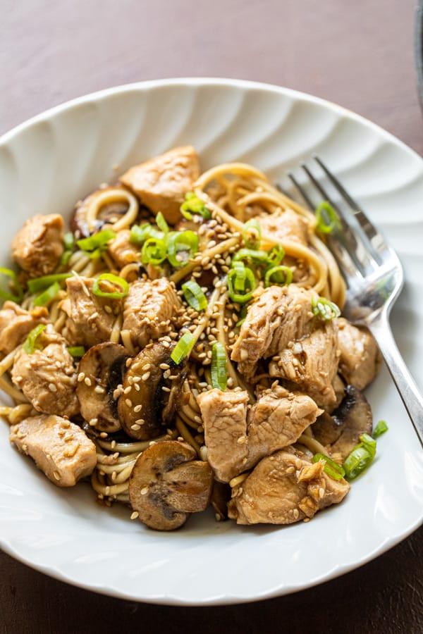 Mushroom Lo Mein in a bowl