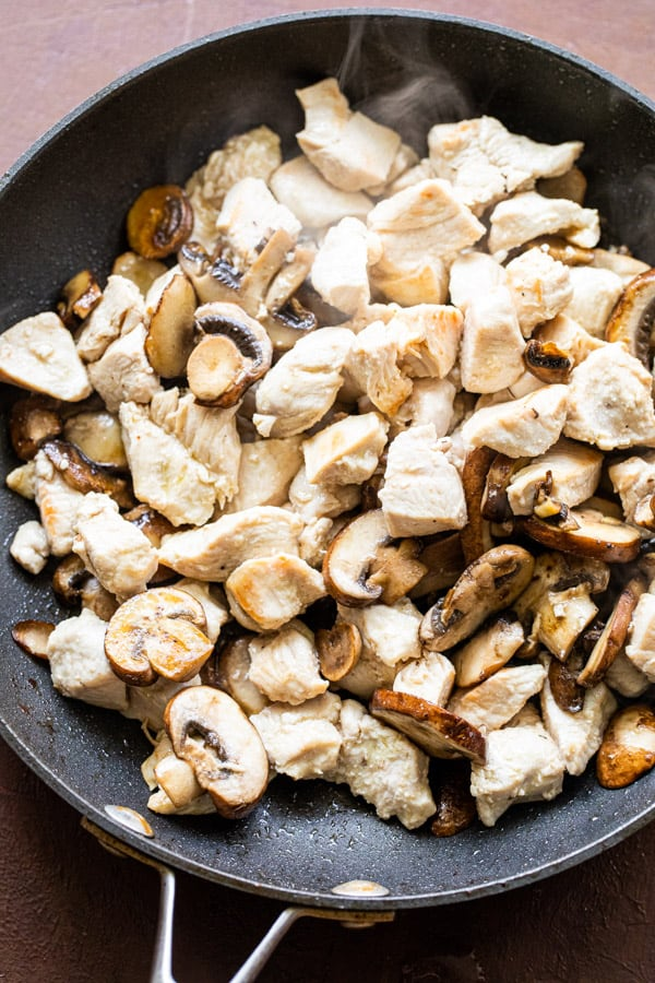 Cooked chicken and mushrooms