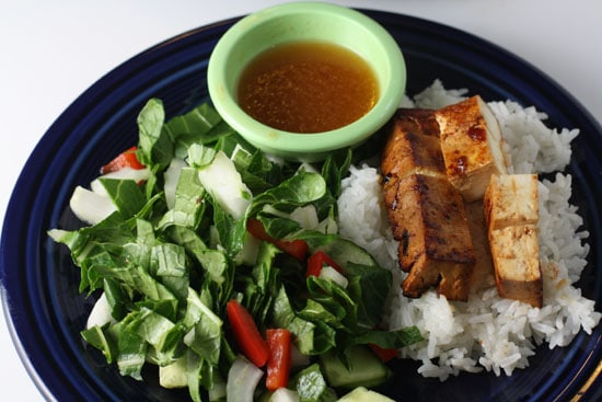Salad and tofu
