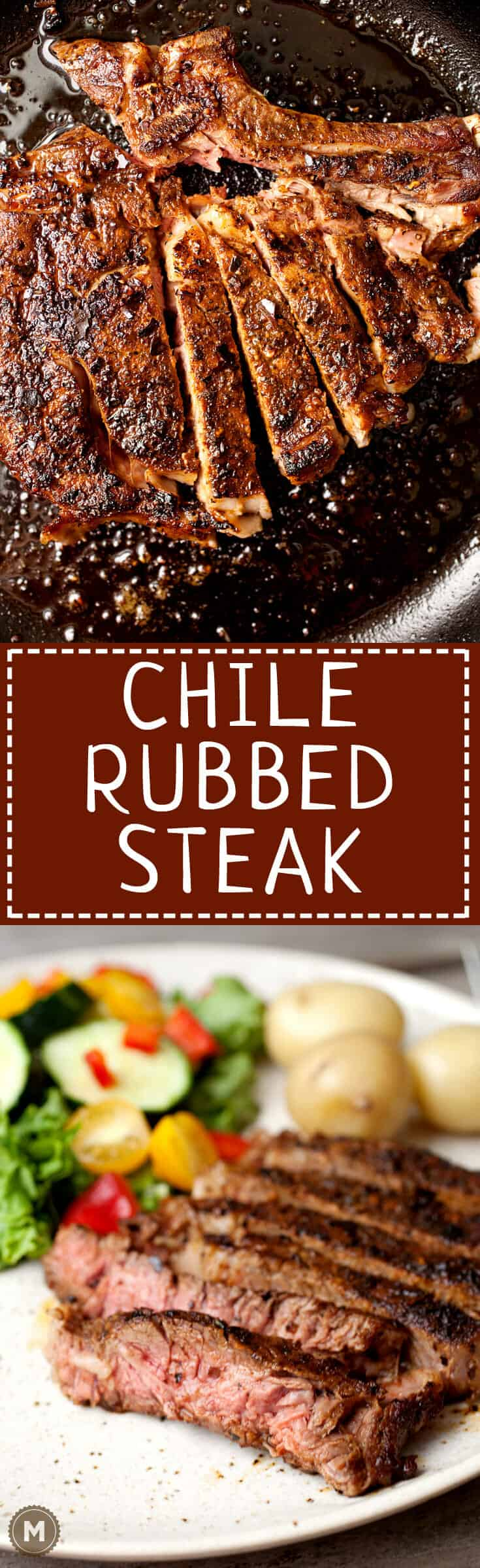 Chile Rubbed Steak: Roasted chiles mashed into a coarse chile powder is the perfect topping for a good steak! Here's how to do it! | macheesmo.com