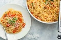 Cherry Tomato Spaghetti: This simple fresh spaghetti dish is made with cherry tomatoes that are super fresh and easy to cook down. It's a huge hit! | macheesmo.com