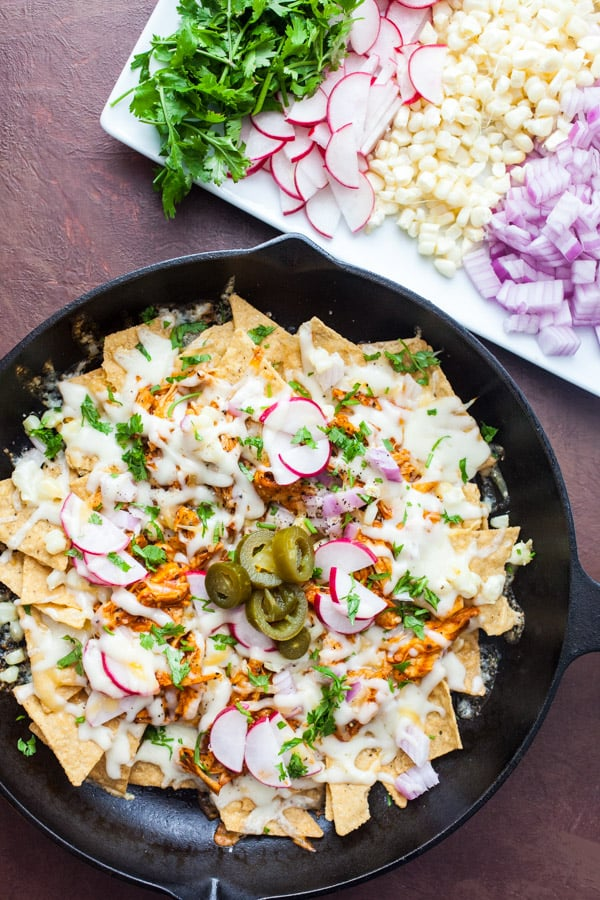 BBQ Chicken Nachos with all toppings