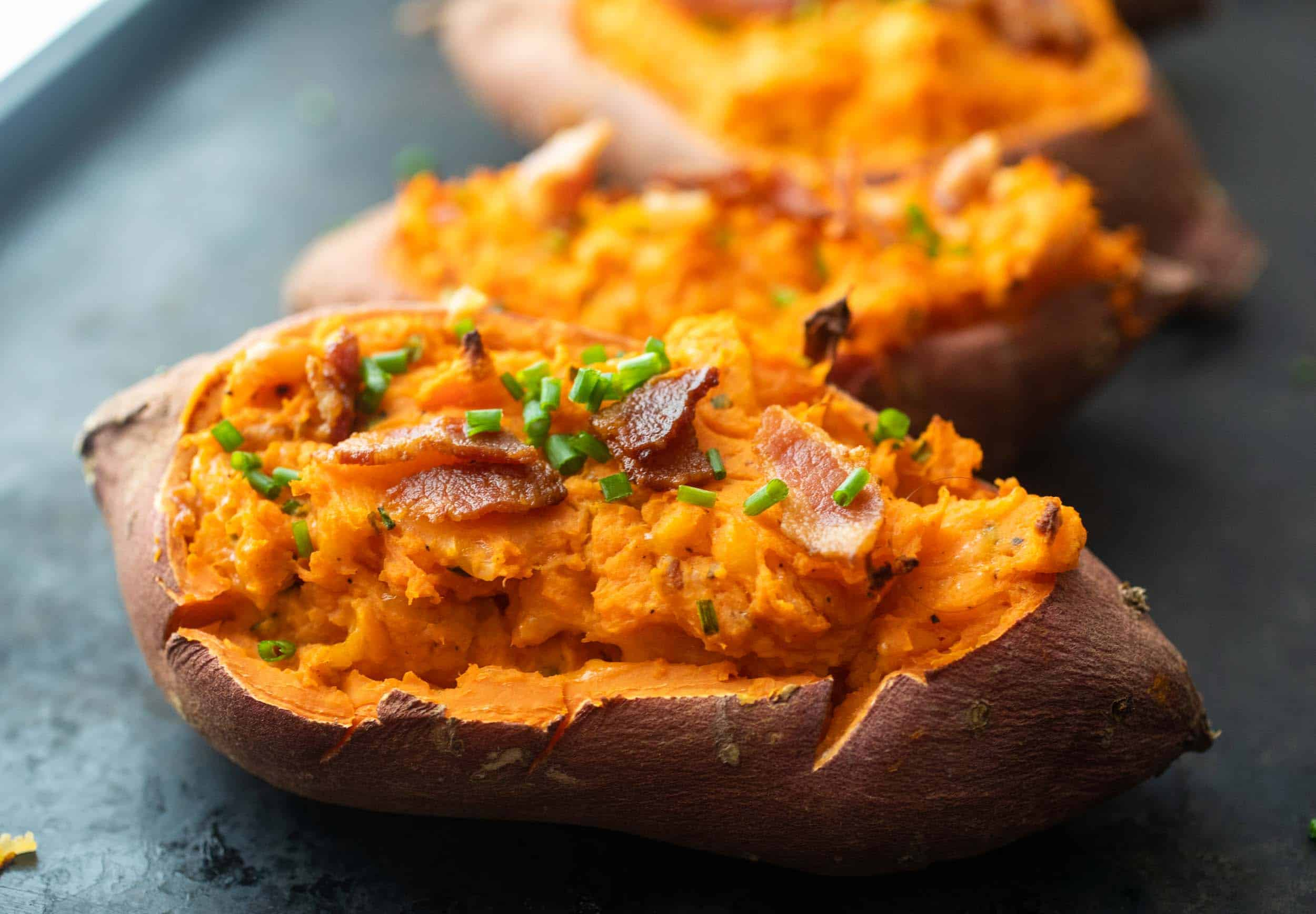 Double Baked Sweet Potatoes With Bacon And Chives Macheesmo