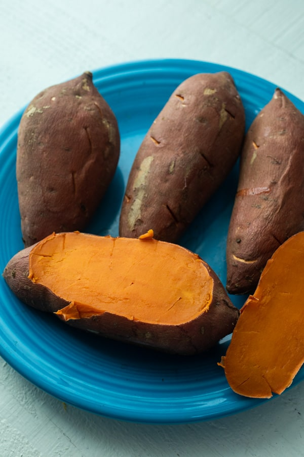 Prepping Sweet Potatoes - Double-baked sweet potatoes