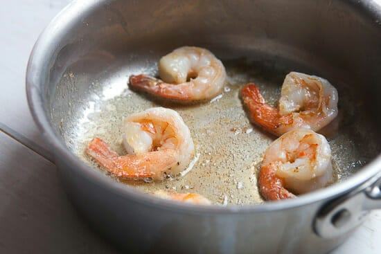 Shrimp cooking.