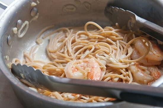 Shrimp scampi for one ready.