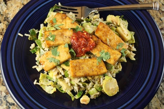 tofu and shredded sprouts