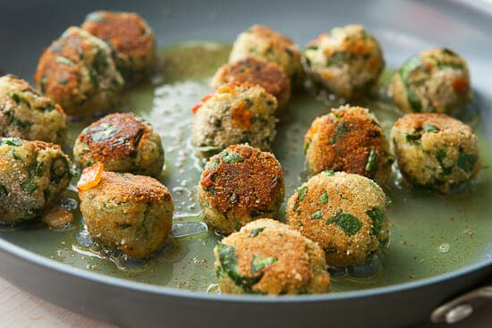 Meatless meatballs cooking.