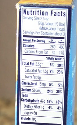 mac and cheese nutrition