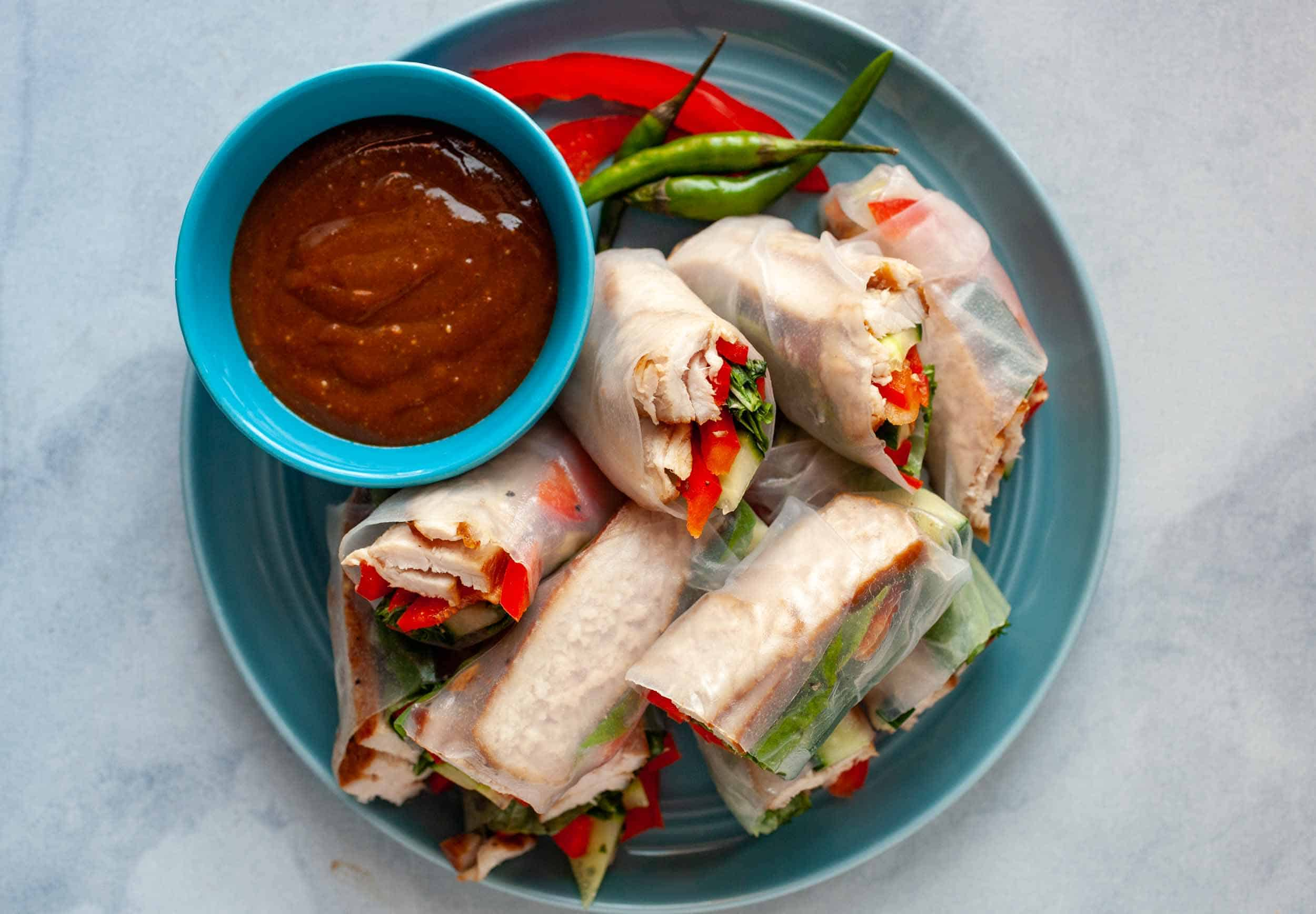 Pork Spring Rolls With Spicy Peanut Dipping Sauce Macheesmo