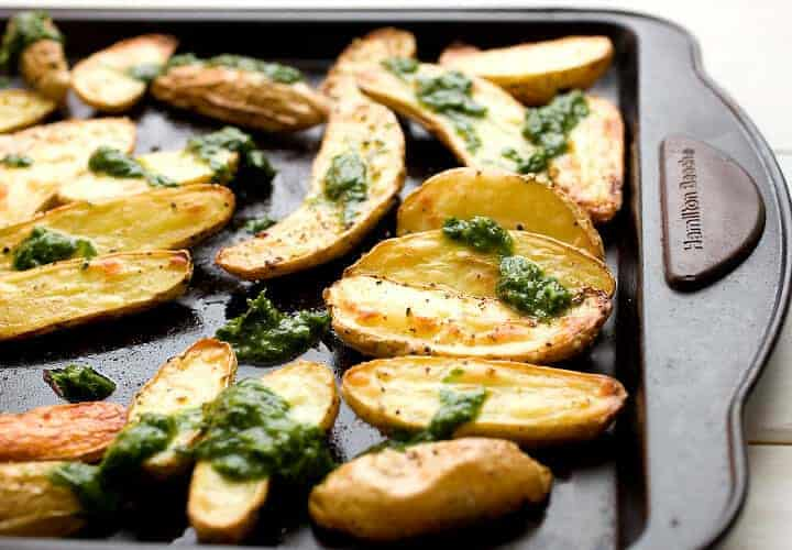 Roasted Fingerlings with Chive Pesto: Crispy roasted fingerling ...