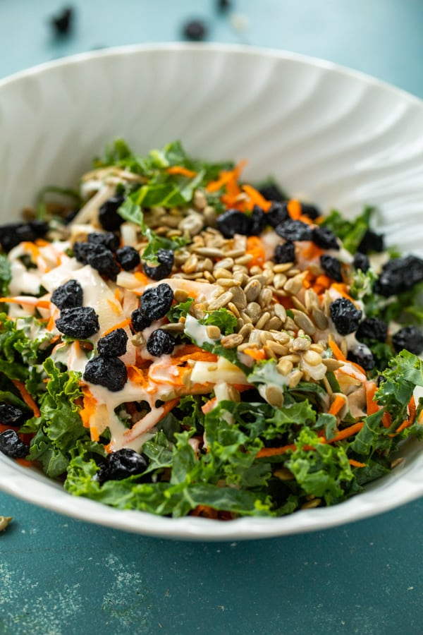Kale Slaw with blueberries and seeds.