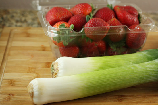 leeks and strawberries