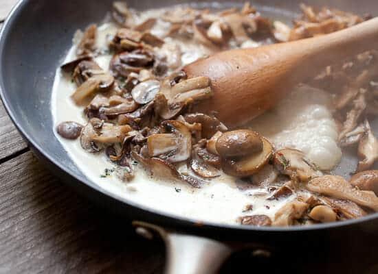 Creamed mushrooms on toast.