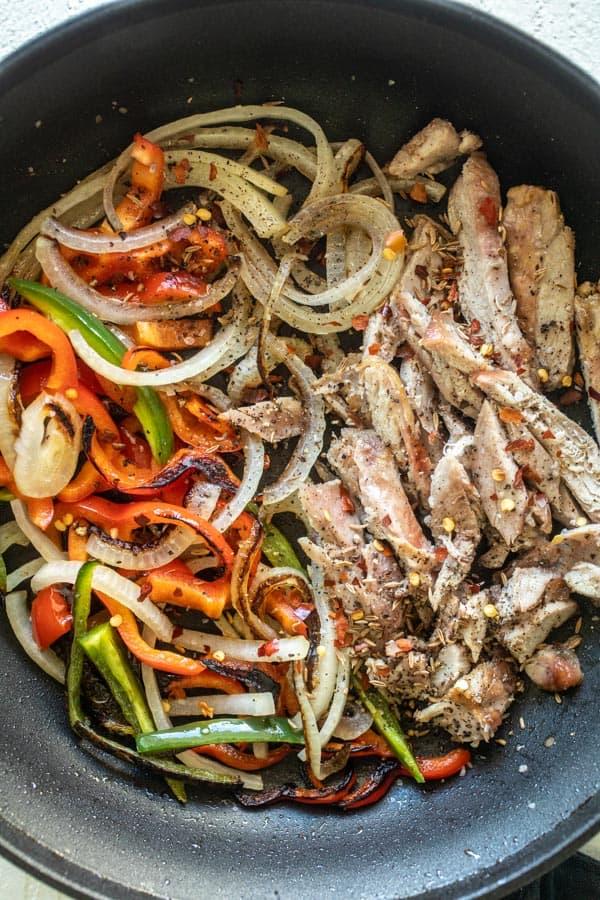 Cooking Fajitas - Leftover Turkey Fajitas