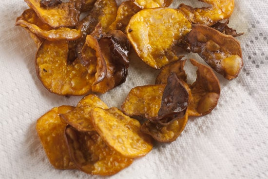 drained Sweet Potato Chips
