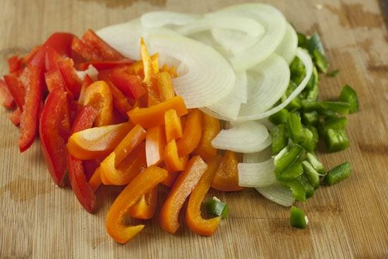 sliced veggies for Leftover Turkey Fajitas