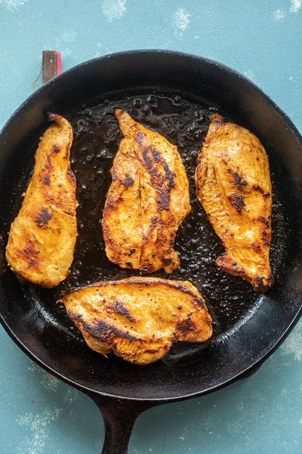 Baja Chicken cooked in cast iron skillet