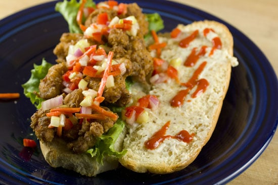 hot sauce on Sweetbreads Po Boys