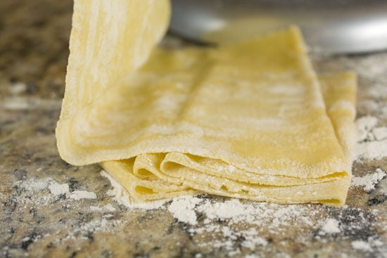 rolling pasta for Winter Squash Ravioli