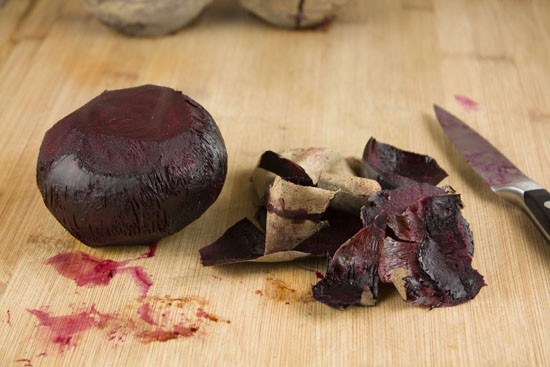 peeled beets for Roasted Beet Soup