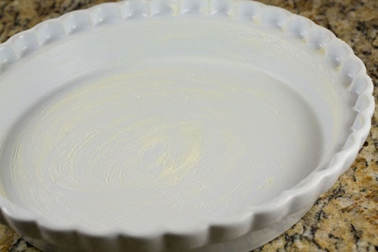 buttered dish for Savory Crepe Pie