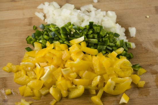 chopped veggies for Savory Crepe Pie