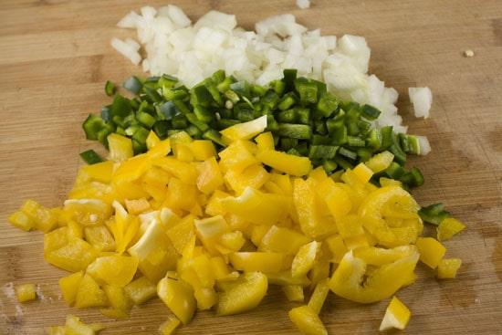 chopped veggies for Savory Crepe Pie