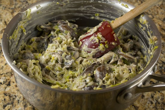 filling the Mushroom Leek Galette