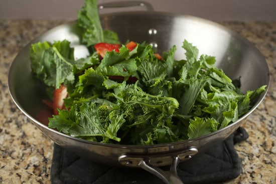 steamed greens for Spicy Orange Greens