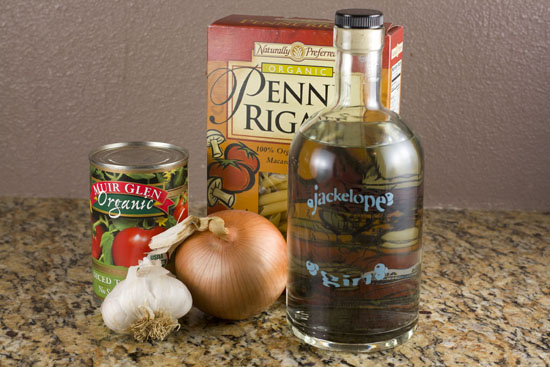 ingredients for Gin Penne Pasta